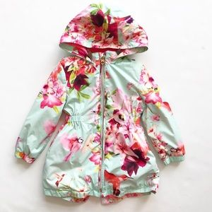 Ted Baker floral print hooded jacket EUC 2/3T